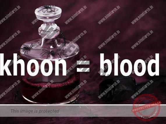 khoon ko english me kya bolte hain और खून का अर्थ